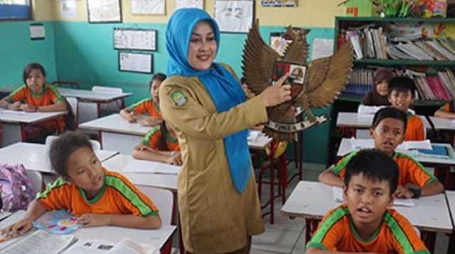 Seorang Guru Mengajar Dalam Kelas