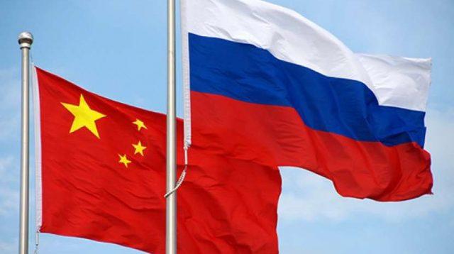 Bendera China dan Rusia.