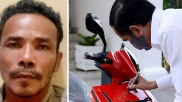 M Nuh (kiri) dan Presiden Jokowi membubuhkan tanda tangan pada motor listrik yang akan dilelang.