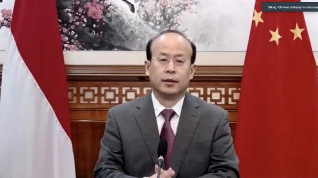 Duta Besar China untuk Indonesia, Xiao Qian, dalam tangkapan layar konferensi pers Kedutaan Besar China di Jakarta, Rabu (24/6/2020). (ANTARA/Aria Cindyara)