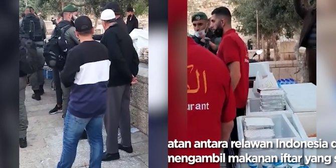 Coba Rebut Makanan Buka Puasa, Relawan Indonesia Saling Dorong Dengan Tentara Zionis