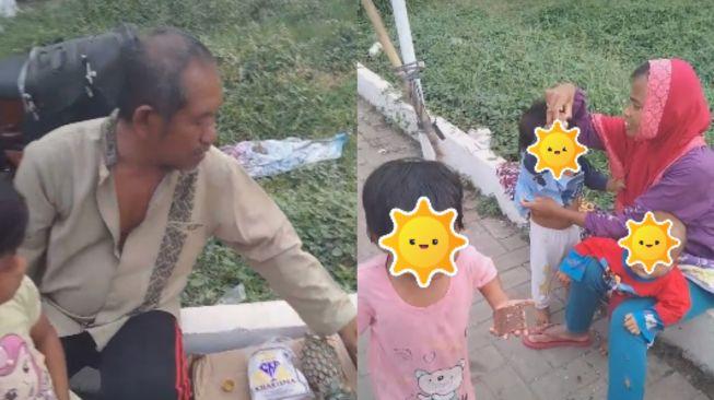 Memprihatinkan, Tidak Punya Rumah Untuk Tempat Tinggal, Pedagang Nanas Terpaksa Bawa Anak dan Istri Berjualan