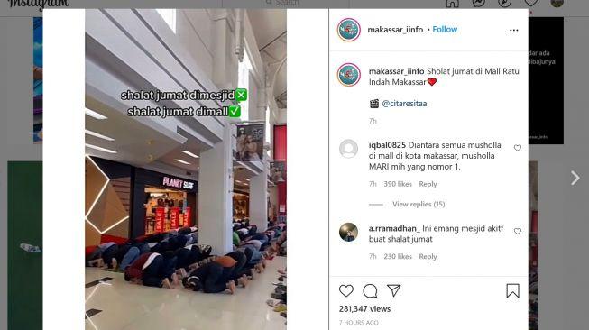 Warganet Heboh Lihat Sekelompok Orang Shalat Jumat di Mall